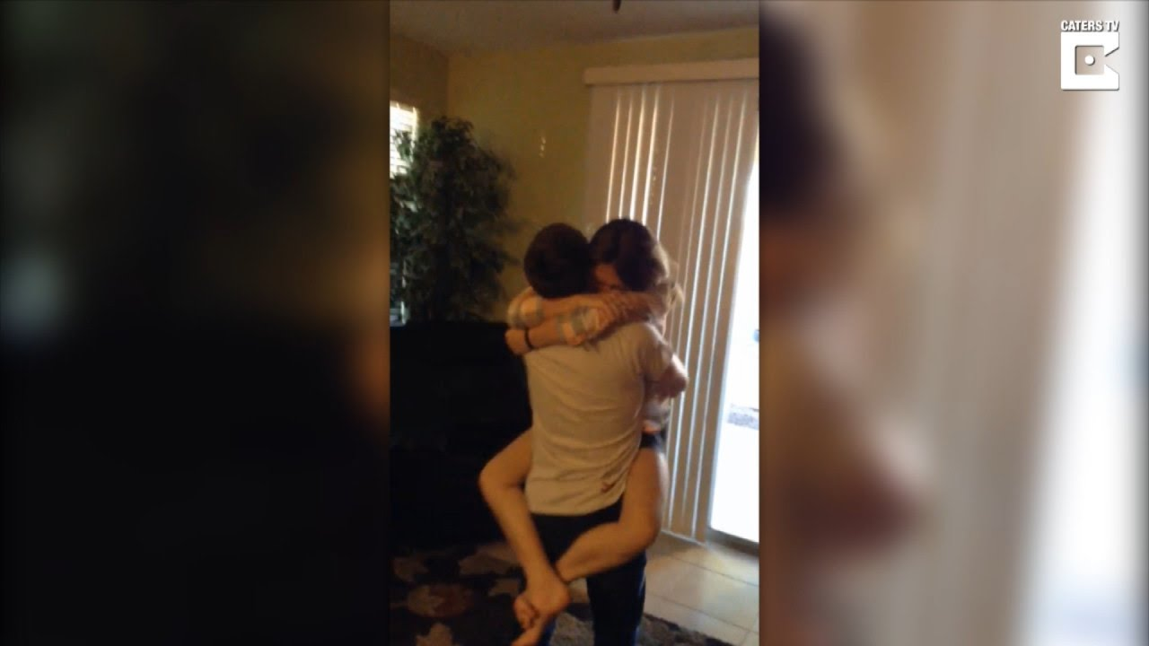 brother returning from military surprises sister he hasn't seen in