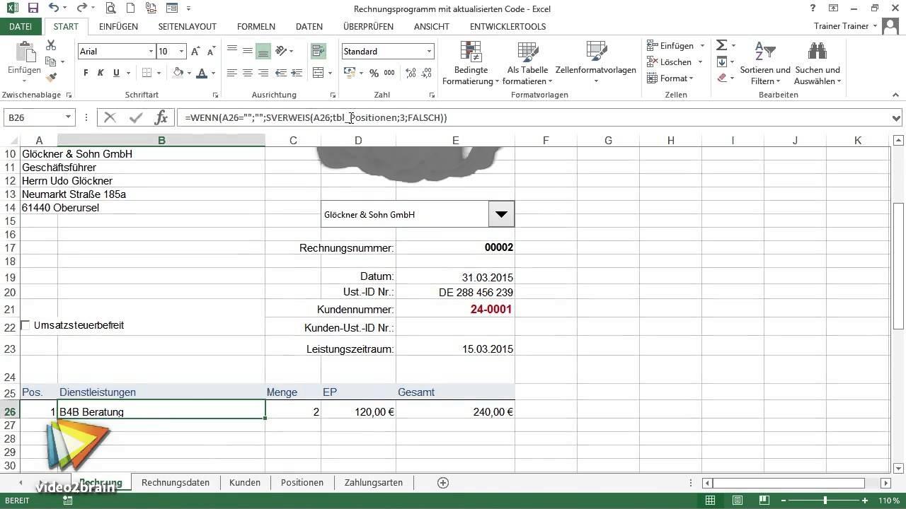 Excel Workshop Rechnungsformular Tutorial Trailer Video2braincom