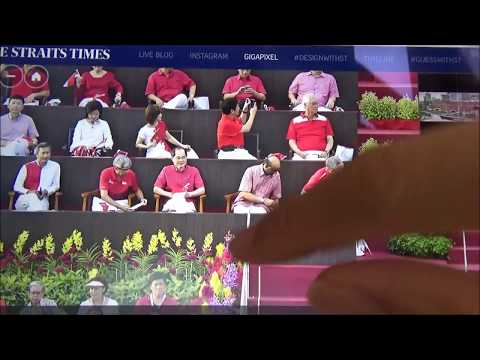 Lady in Hotel Room Towels Caught on Straits Times National Day Parade 2017 GigaPicture