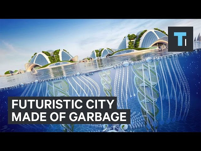 Futuristic city made of garbage