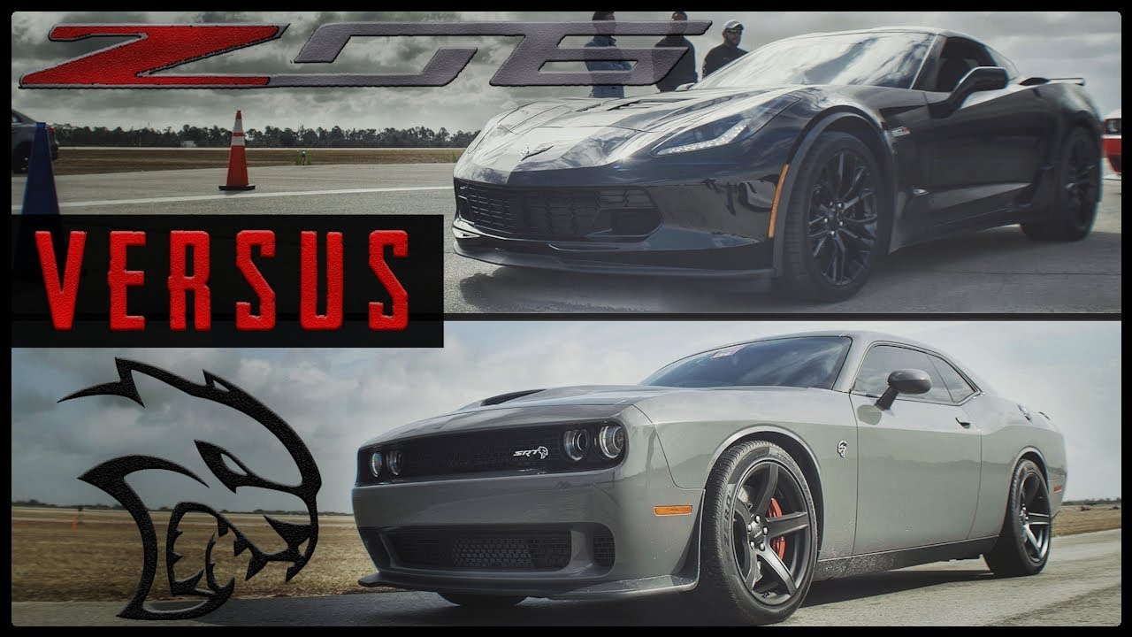 Srt Hellcat Vs Corvette C7 Z06 1 2 Mile Drag Race Youtube