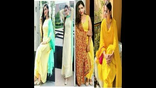 Beautiful yellow colour combination suit's design ideas 2018/19 || latest yellow colour suits Design