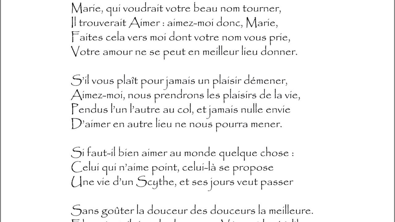 Ronsard Sonnet Marie Qui Voudrait Audiothèque