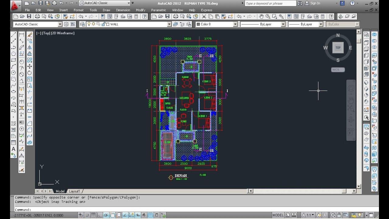BELAJAR AUTOCAD Membuat Denah Rumah Minimalis TYPE 70 Membuat