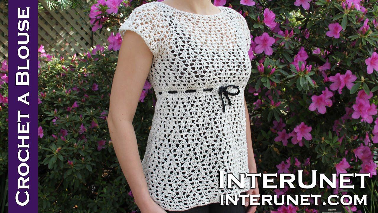 732a590e1 Crochet a raglan sleeve blouse - women s dress shirt crochet pattern ...