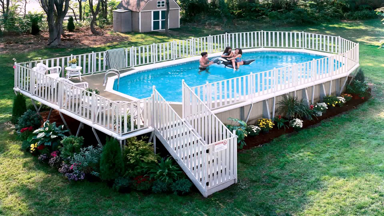 Above Ground Pool Deck Plans Oval You