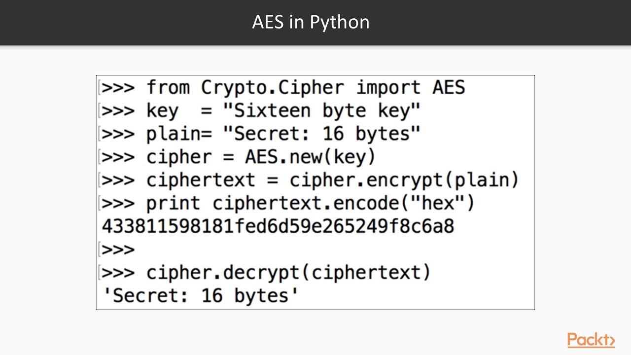 Cryptography with Python : AES | packtpub com