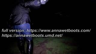 WetLook 205 girl in jeans and high leather boots in the water