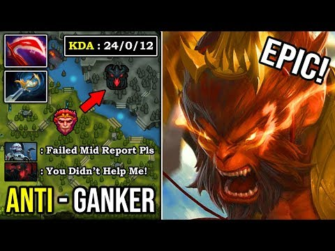 HOW TO SOLO MID MONKEY KING IN 2020 Anti-Ganker With Crazy Dodge & Fast Tree Jump 24 Kills DotA 2