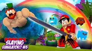 ROBLOX - *NEW UPDATE* SLAYING SIMULATOR, DEFEATING THE MAX LEVEL BOSS!!