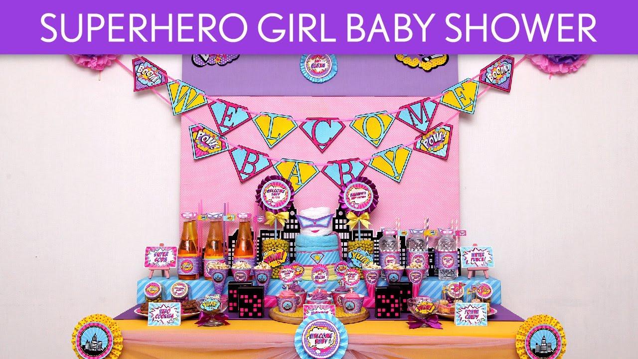 Vintage Superhero Girl Baby Shower Party Ideas // Vintage ...