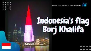 Indonesia flag 🇮🇩lights up on World's tallest building Burj Khalifa in Independence day - Dubai, UAE