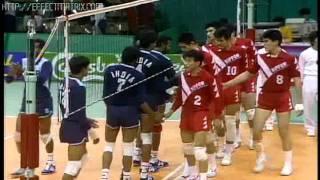 JIMMY GEORGE - UDAYAKUMAR - KERALA - INDIA - VOLLEYBALL  ACTION - SEOUL ASIAN GAMES 1986