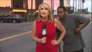 Repeat youtube video KTLA Reporter Wendy Burch Scared on LIVE TV in Los Angeles