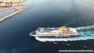Aerial video - Blue Star Patmos arriving at Piraeus(Εναέρια λήψη του πλοίου Blue Star Patmos κατά την προσέγγισή του στο λιμάνι του Πειραιά Aerial video of Blue Star Patmos approaching..., 2016-04-04T21:11:11.000Z)