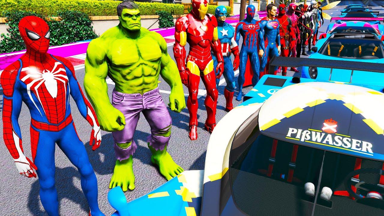 Desafio de poder Heróico Homem Aranha Hulk Homem de Ferro SuperHomen em GTA V mods - Spiderman