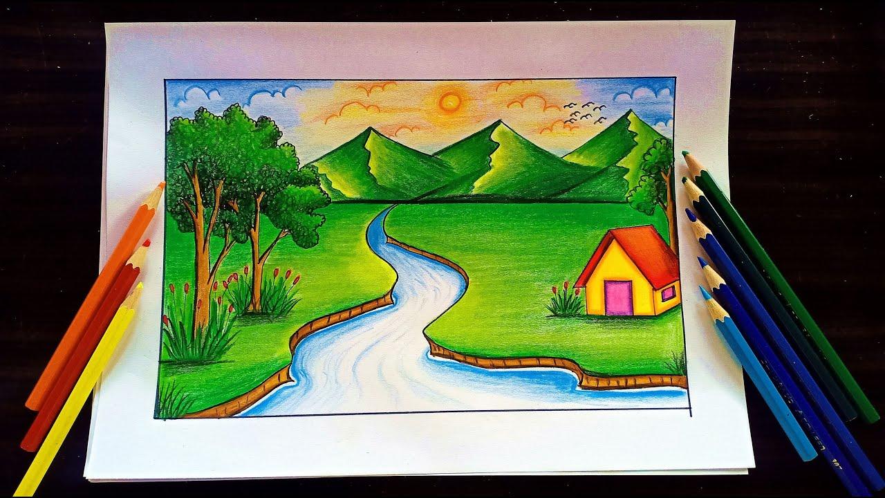 วาดภาพธรรมชาติลำธารและบ้านหลังน้อย