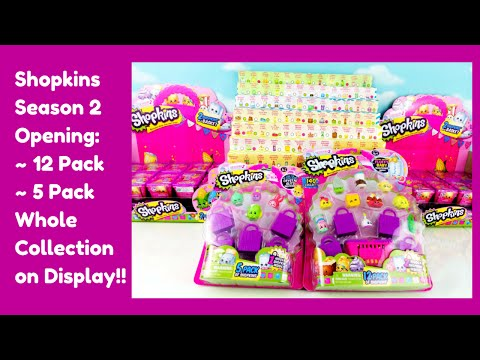 Shopkins Season 2 Opening 12 Pack 5 Pack Limited Edition Hunt Whole Collection Display