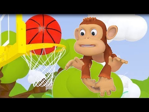 Learn Colors for Kids Children Toddlers with Monkey Play Basketball - Colours Cartoons for Children
