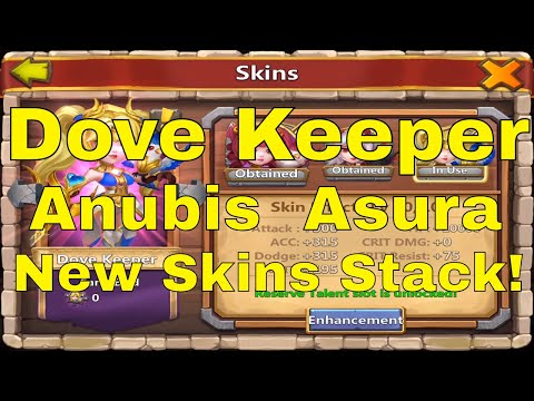 Castle Clash Dove Keeper Anubis Asura New Skins All Bonuses Stack