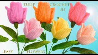 Como hacer Tulipanes a Crochet en punto 3D paso a paso tejido tallermanualperu