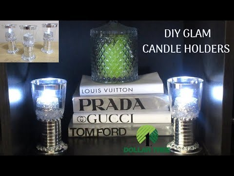 NEW! DIY DOLLAR TREE SIMPLE GLAM CANDLE HOLDERS