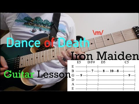 Dance Of Death - Iron Maiden: Guitar Lesson With ON SCREEN TABS - Intro Riff And Chords Tutorial