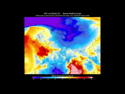EUROPE  7-day Temperature Anomaly Forecast - GFS Model   /SWE