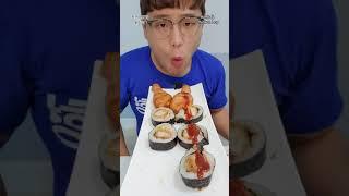 [쇼츠/먹방]CU돈까스김밥과 훈제닭다리 먹끼(ft.핵불…