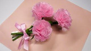 ふんわり可愛いカーネーションを100均のお花紙と折り紙で簡単に出来る作...