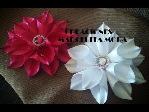 Flor en Picos Liston Satin/ Flor de Fita de Cetin/Easy ...
