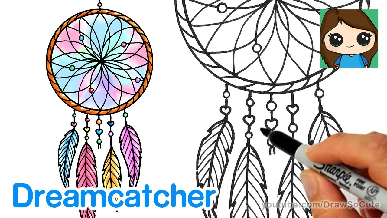 How To Draw A Dream Catcher Easy Youtube