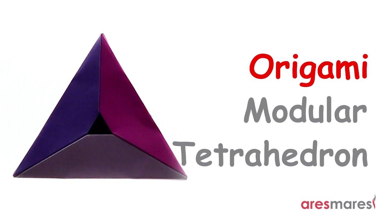 origami tetrahedron easy modular youtube