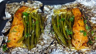 Baked Salmon Recipe Wİth Garlic Butter Sauce & Green Beans By Super Tasty