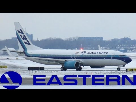 Eastern Air Lines 737-800 (B738) taxiing & departing YUL on 28