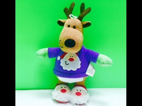 Christmas Jingle Bells Singing Musical Santa Reindeer Stuffed Toy
