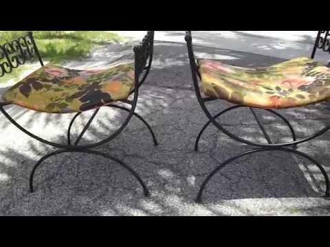 Roman Style / Wrought Iron Chairs / Neo Greek/ Vanity Bench / Circa 1940 / Iron Bench