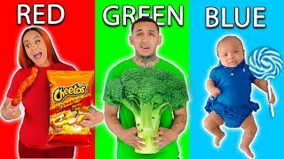 LAST TO STOP EATING THEIR COLORED FOOD CHALLENGE!