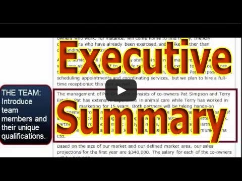 how to write an executive summary business plan youtube