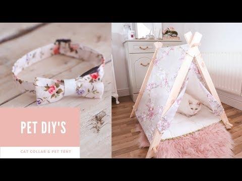 Pet DIYs, DIY cat collar and wooden pet tent