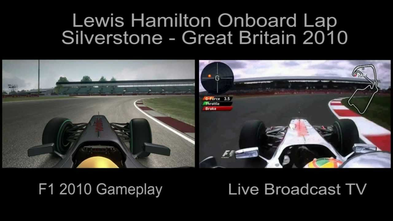 F1 Lewis Hamilton Onboard Lap [Split Screen: game x Live TV] Silverstone -  2010