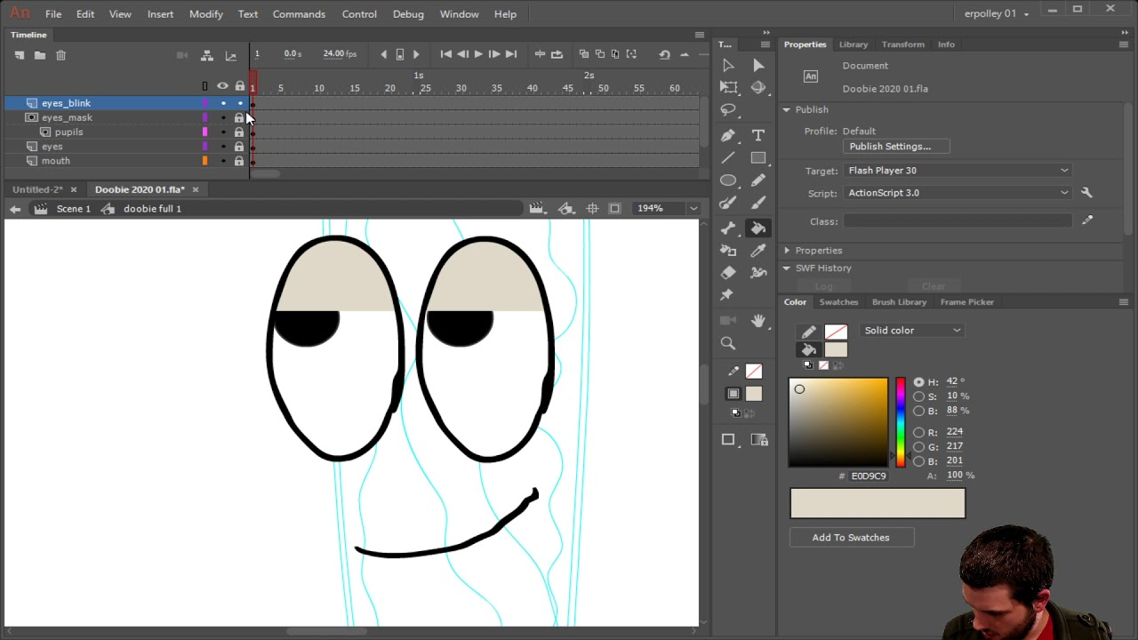 Rigging eyes and eyelids in Animate cc and Animate it with frame picker