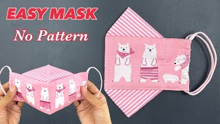 Very Easy New Style No Pattern Face Mask Sewing Tutorial Best fit Breathable NO FAG ON GLASSES