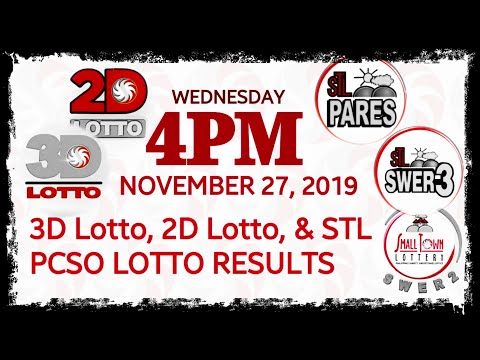 PCSO Lotto Result [4PM] November 27, 2019 (Wednesday), 3D/Swertres, 2D/EZ2, STL