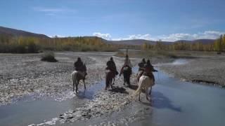 Кладбище шаманов, четыре всадника и животные на съёмках. За кадром фильма «Алтайская песня». 13 день