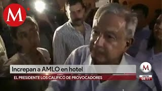 Estos son los manifestantes que increparon a AMLO en SLP