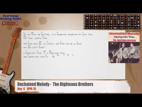 Unchained Melody - The Righteous Brothers Guitar Backing Track with chords and lyrics