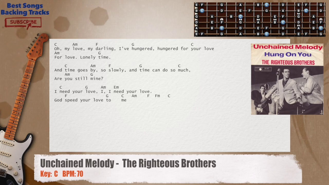 Unchained Melody The Righteous Brothers Guitar Backing Track With
