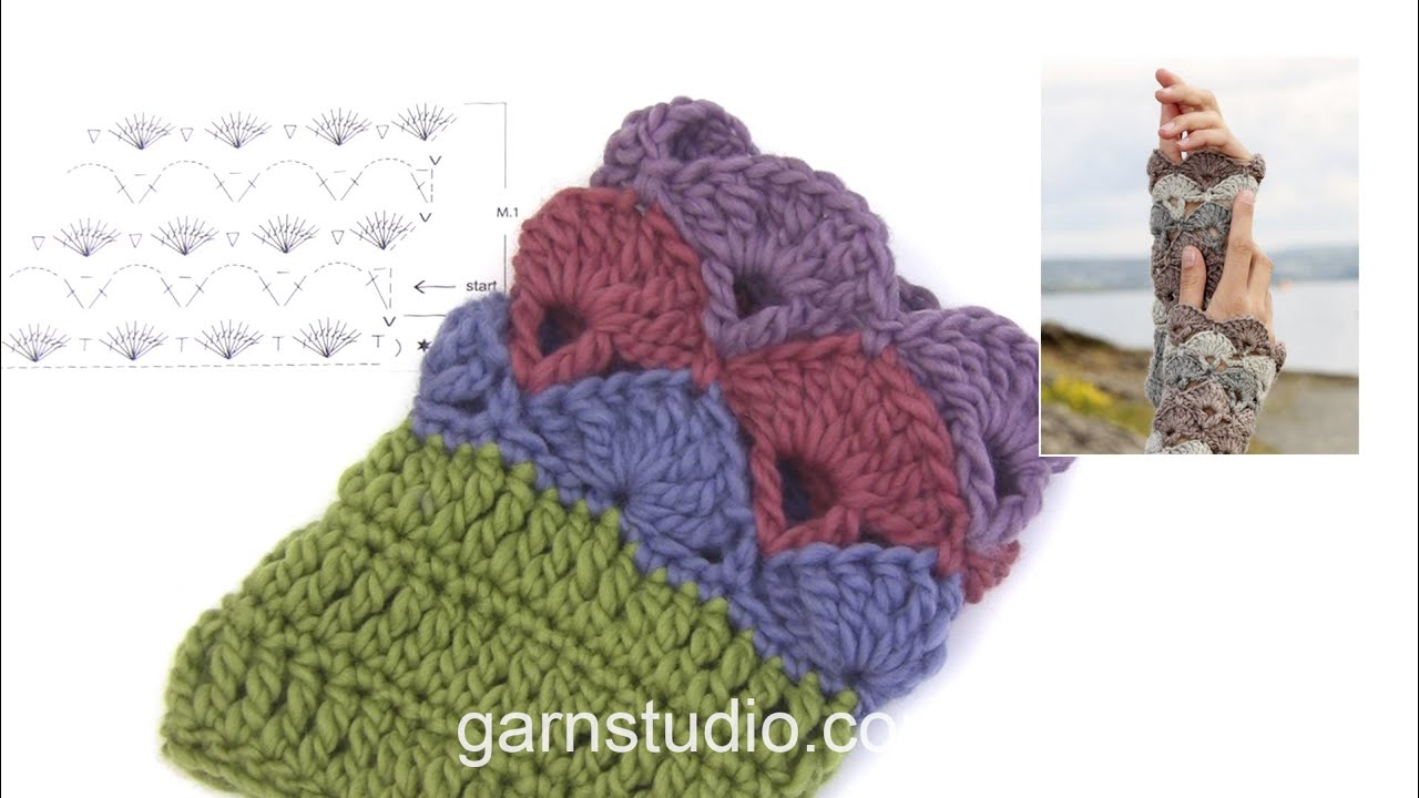 How To Crochet The Wrist Warmers In Drops 108 25 Youtube