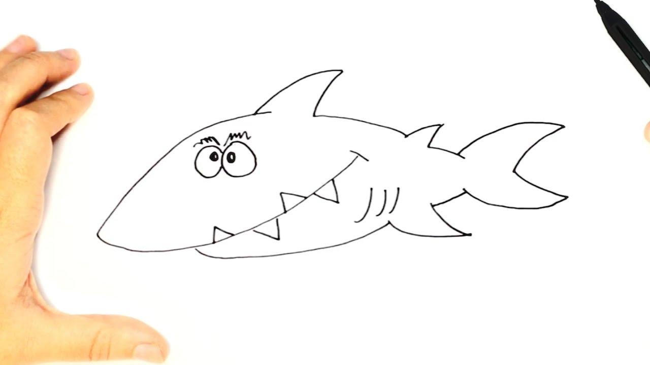 Cómo dibujar un Tiburón para niños | Dibujo fácil de un Tiburón paso ...